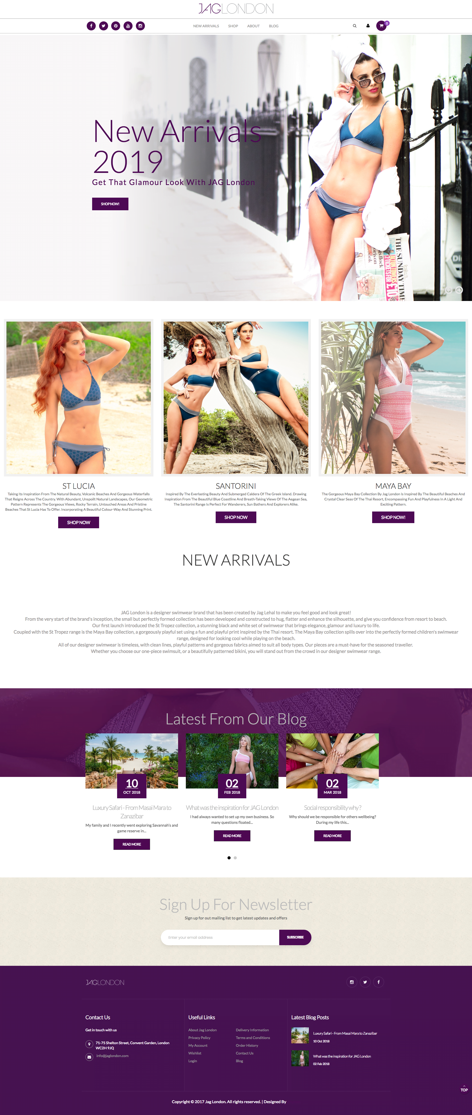 Jag London Swimwear| ecommerce website design